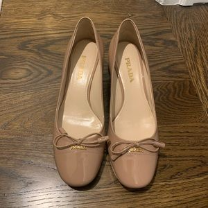 Never Been Worn Prada Tan Loafer with Short Heal